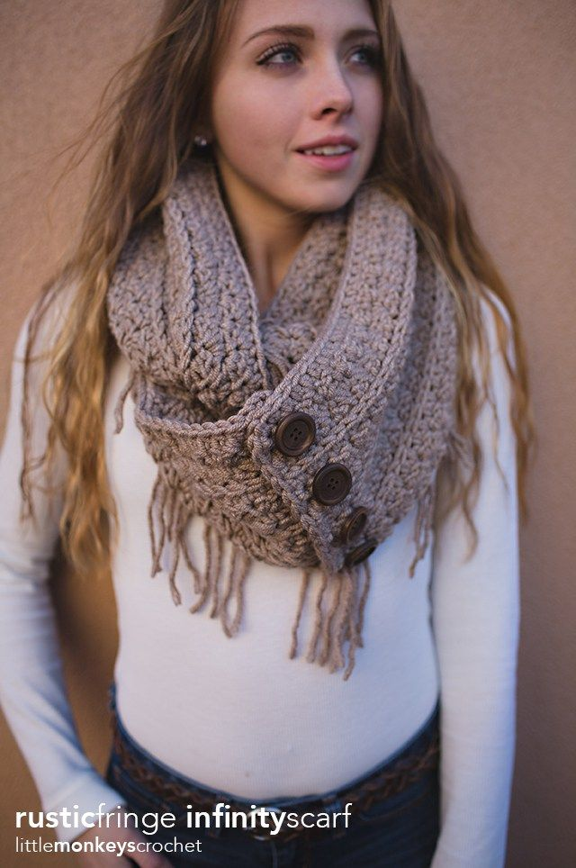 Rustic Fringe Infinity Scarf Crochet Cowl Pinterest Crochet