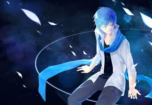 All Male Blue Blue Eyes Blue Hair Kaito Magic Male Music Scarf