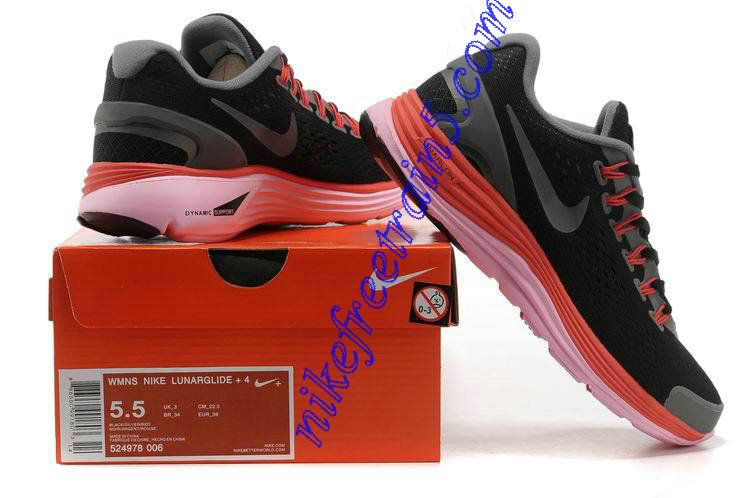 5f2765001810 Womens Nike Lunarglide 4 Black Grey Fireberry Pearl Pink Reflect Silver  524978 006
