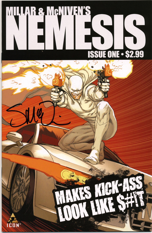 Nemesis #1, signed by McNiven. Think: Batman as villain meets Kickass's tone and violence.