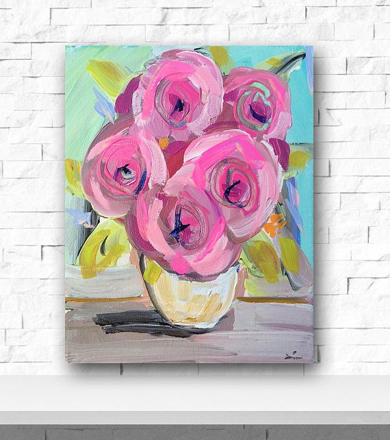 Original Abstract Floral Painting Pink Abstract by DevinePaintings