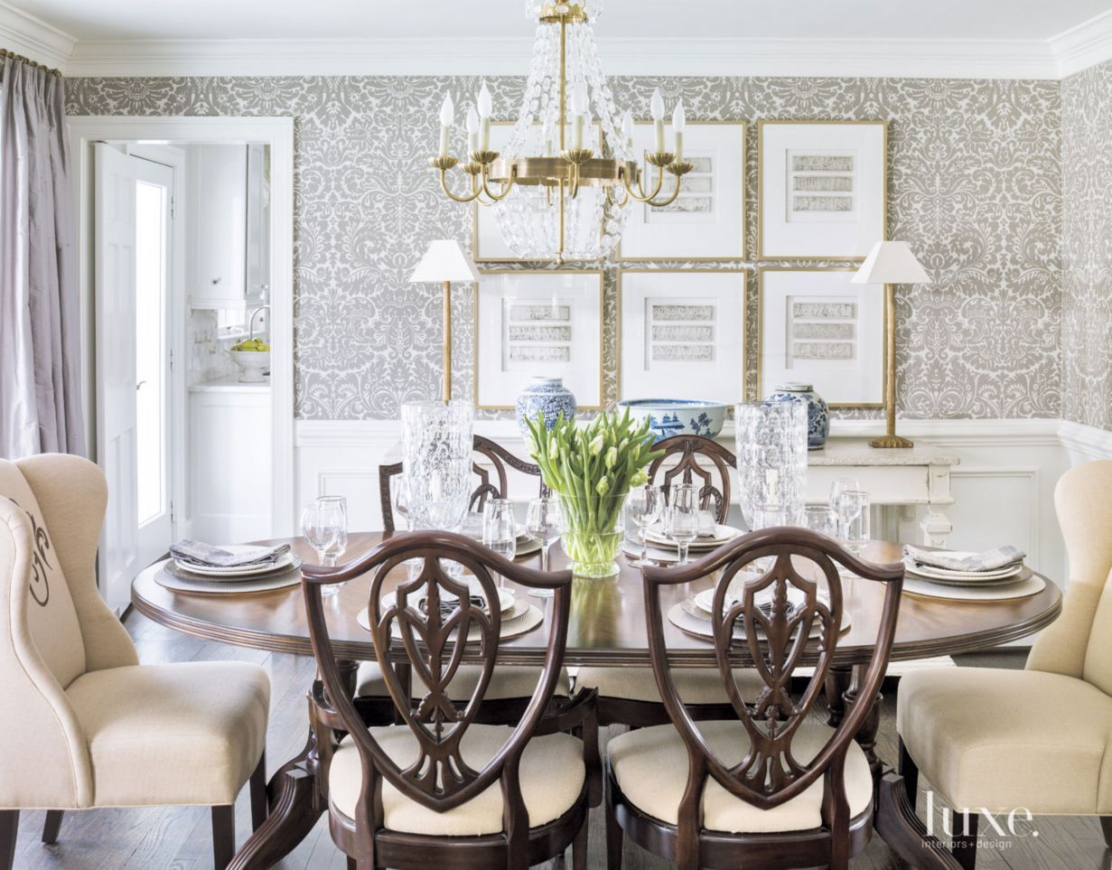 Farrow ball s silvergate wallpaper in grisaille defines for Kitchen dining room wallpaper