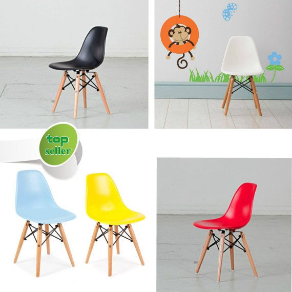 Eames Style Kids Chair In Various Colours Dining Chair Playroom  Scandinavian Chair White Black Red Pink