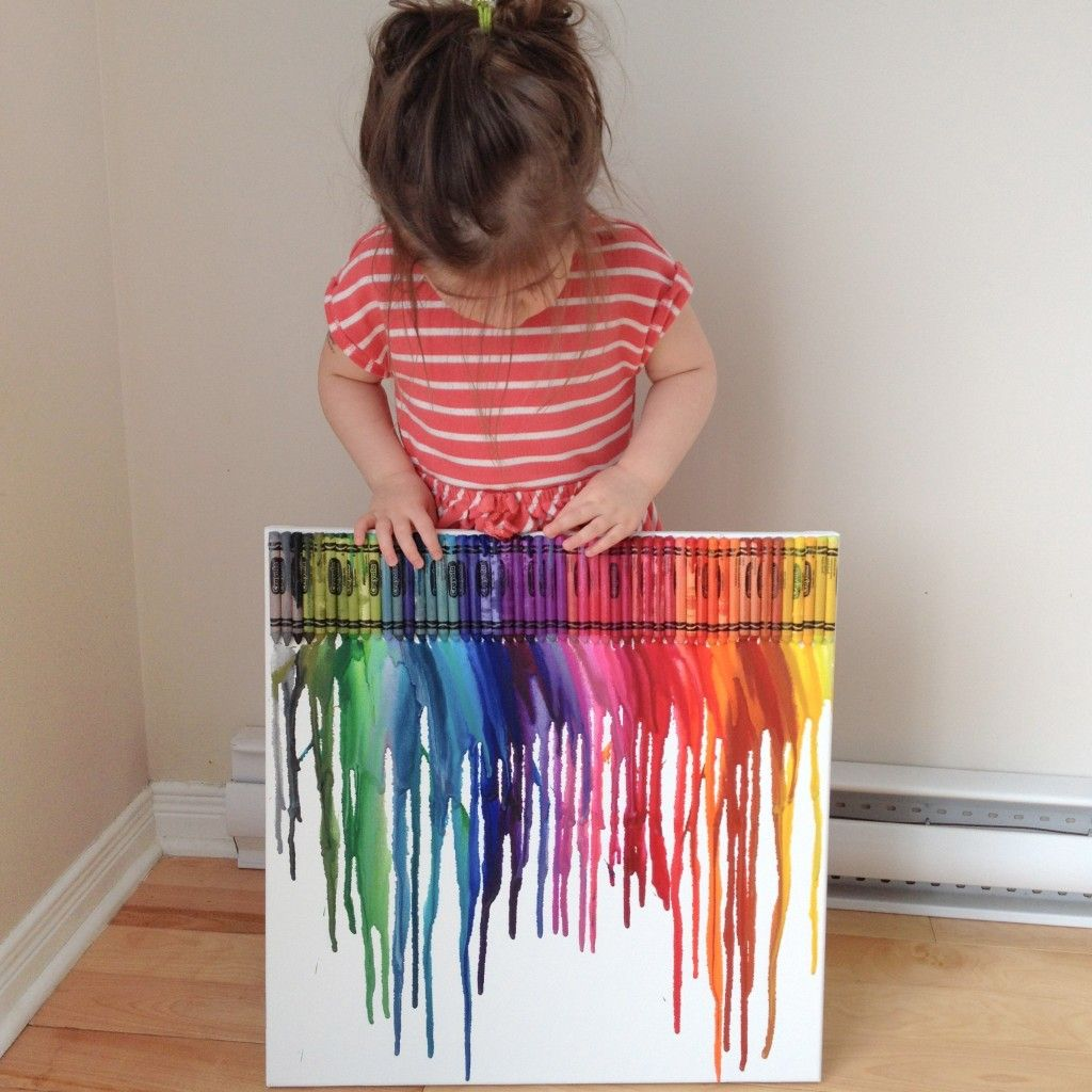 Faire de l 39 art avec des crayons fondus rien de plus facile cutifulbaby anniv arc en ciel - Peinture sur toile facile a realiser ...