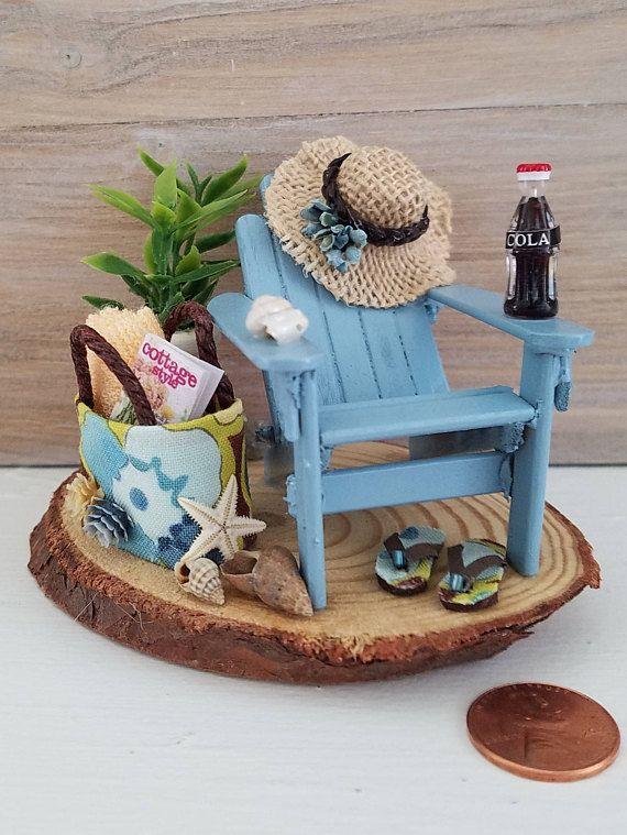 Miniature Beach Scene Miniature Adirondack Chair Beach Decor