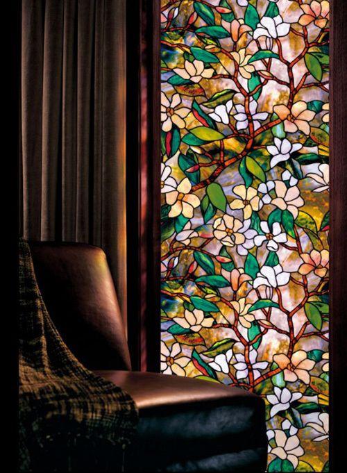 pas cher magnolia verre grav fen tre film de protection textur teint effet floral s curit. Black Bedroom Furniture Sets. Home Design Ideas