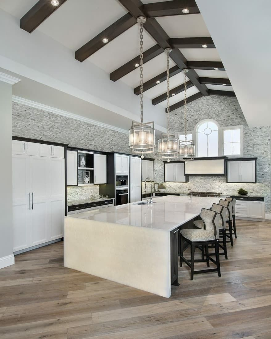 Amazing Double Height Kitchen In A Naples Florida Home Designed By Weber Design Group And Built Sunwest Custom Outdoor Kitchen Design Home Transitional House