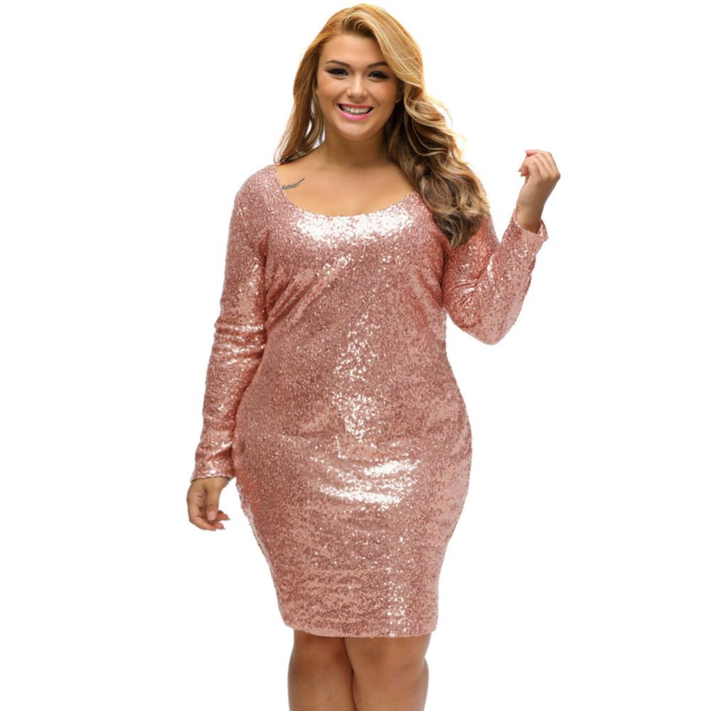 Fashion new plus size sequin party dresses spring champagne