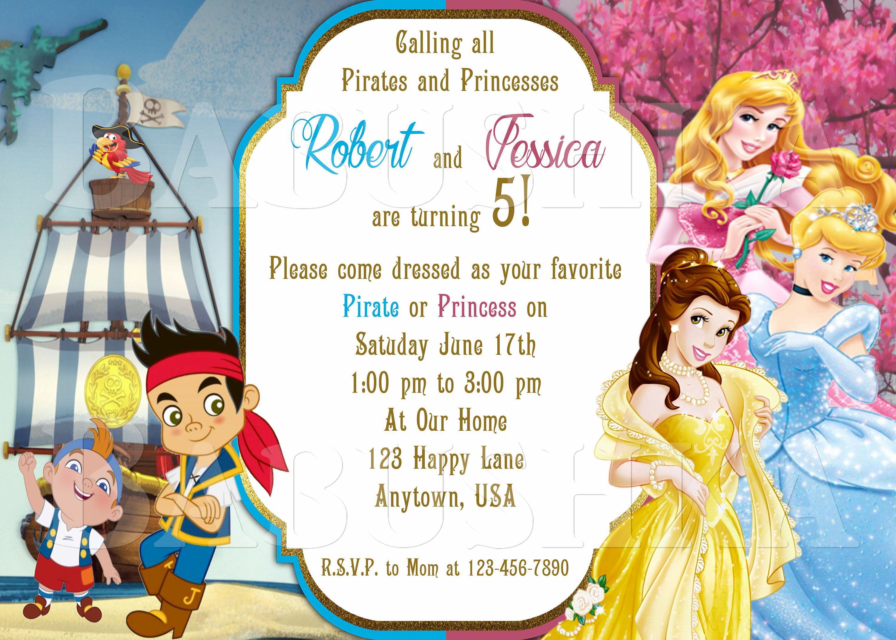 Pirate And Princess Twins Or Double Birthday Party Invitation Jake The Neverland Pirates