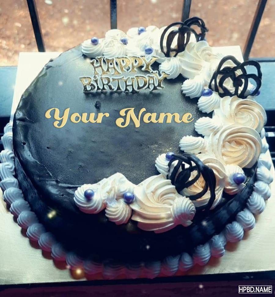 Write Name On Dark Chocolate Birthday Wishes Cake in 7