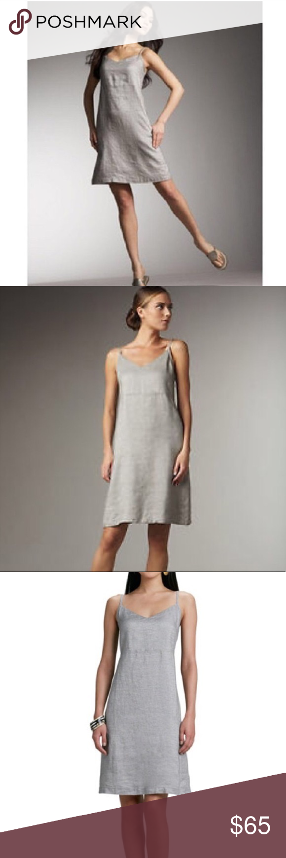 a5725854e5c Eileen Fisher twinkle linen slip dress Silver metallic linen shift ...