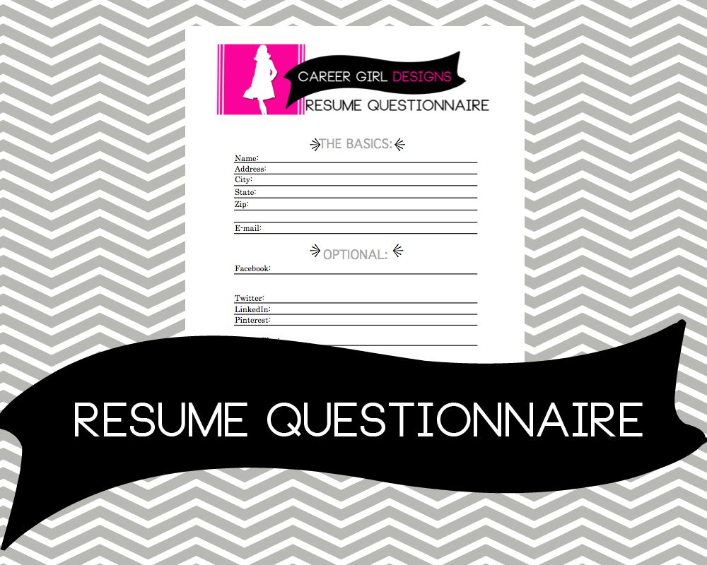 Resume Questionnaire To Start Over Or Begin Your Resume, Resume Template,  Resumes, Templates
