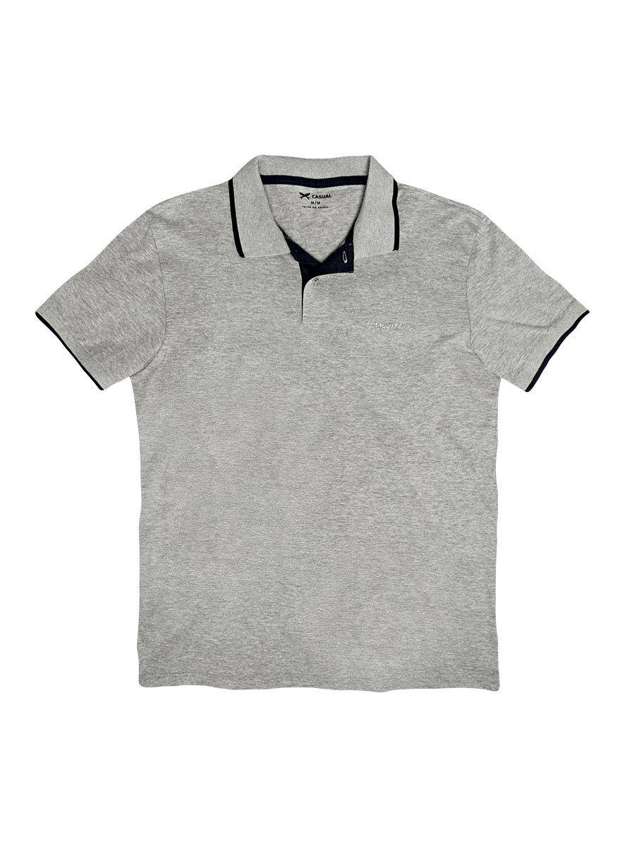 b23eb37d30829 Camisa polo masculina hering básica com contraste de cor na cor cinza em  tamanho P.