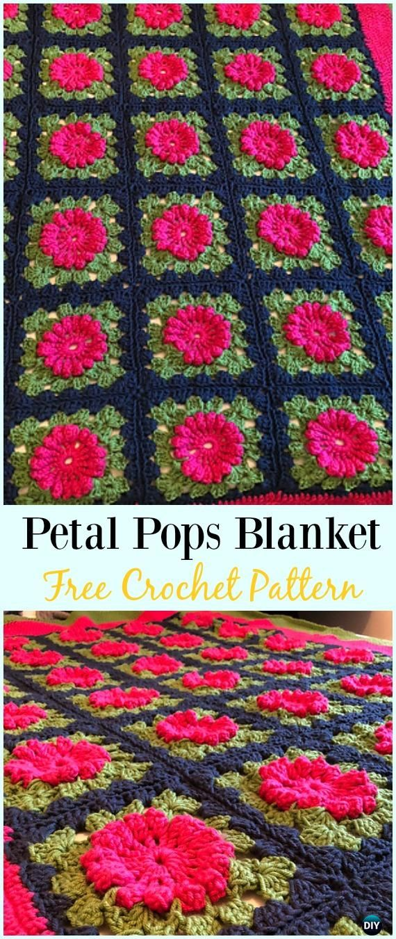 Crochet Petal Pops Blanket Free Pattern Crochet Flower Blanket