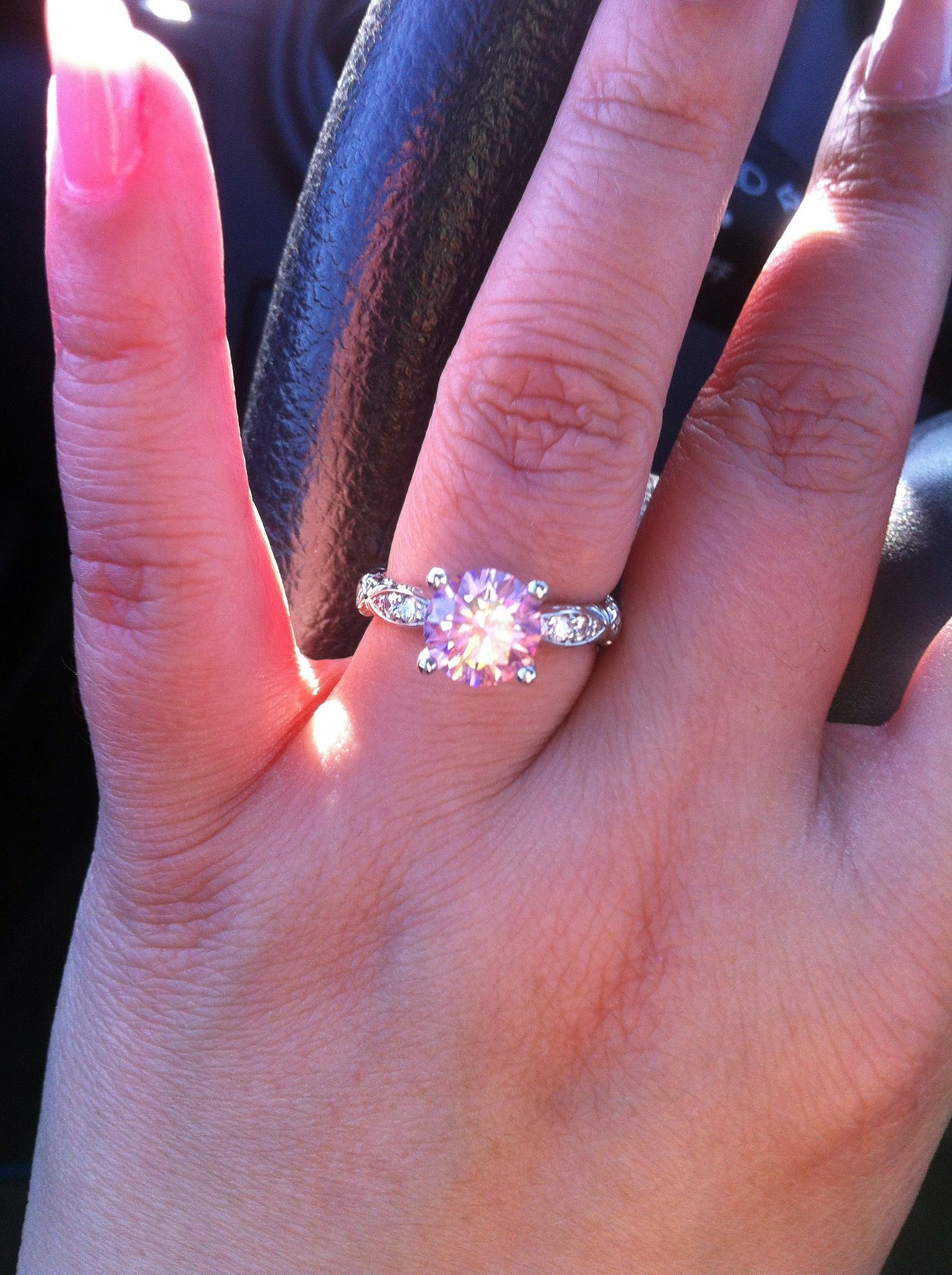 James Allen Pave Setting Pink Engagement Ring | Rings! Round, Oval ...