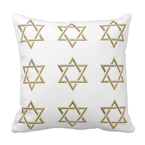 Golden 3-D Star of David Pillows....#pillows #homedecor #interiordecorating #interiordesign #livingrooms #bedrooms #forsale #RoseSantuciSofranko #Artists4God #Jewish #StarOfDavid