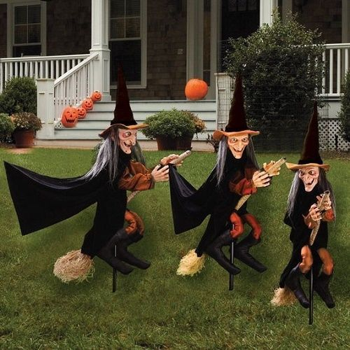 WITCH-LAWN-DECORATION-SET-3 PC-HALLOWEEN-PARTY-PROPS-SCARY-OUTSIDE-GARDEN -STAKES - Halloween Witch Garden Stakes Set 3 Lawn Decoration Party Prop