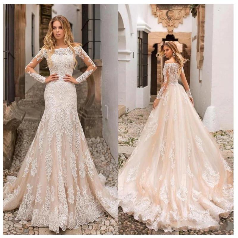 Lace Appliques Buttons Back Champagne Bride Gown