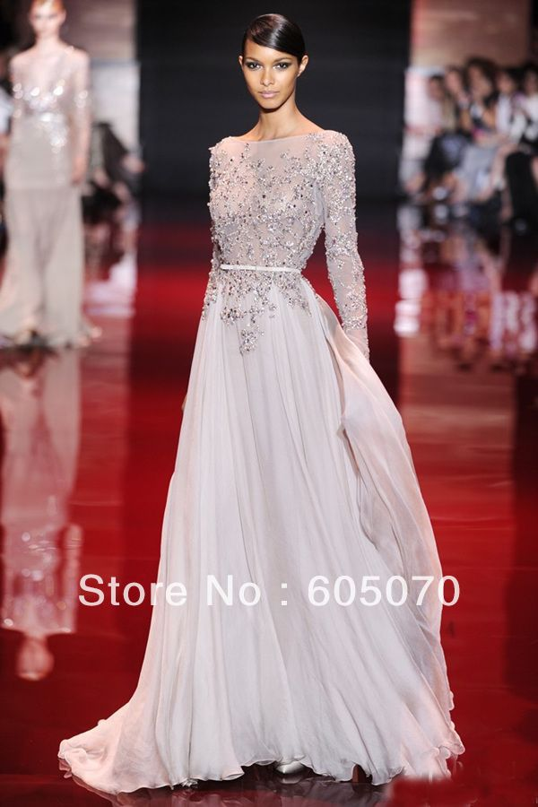 New Arrival Elie Saab Lace Appliqued Beaded Long Sleeves Prom ...