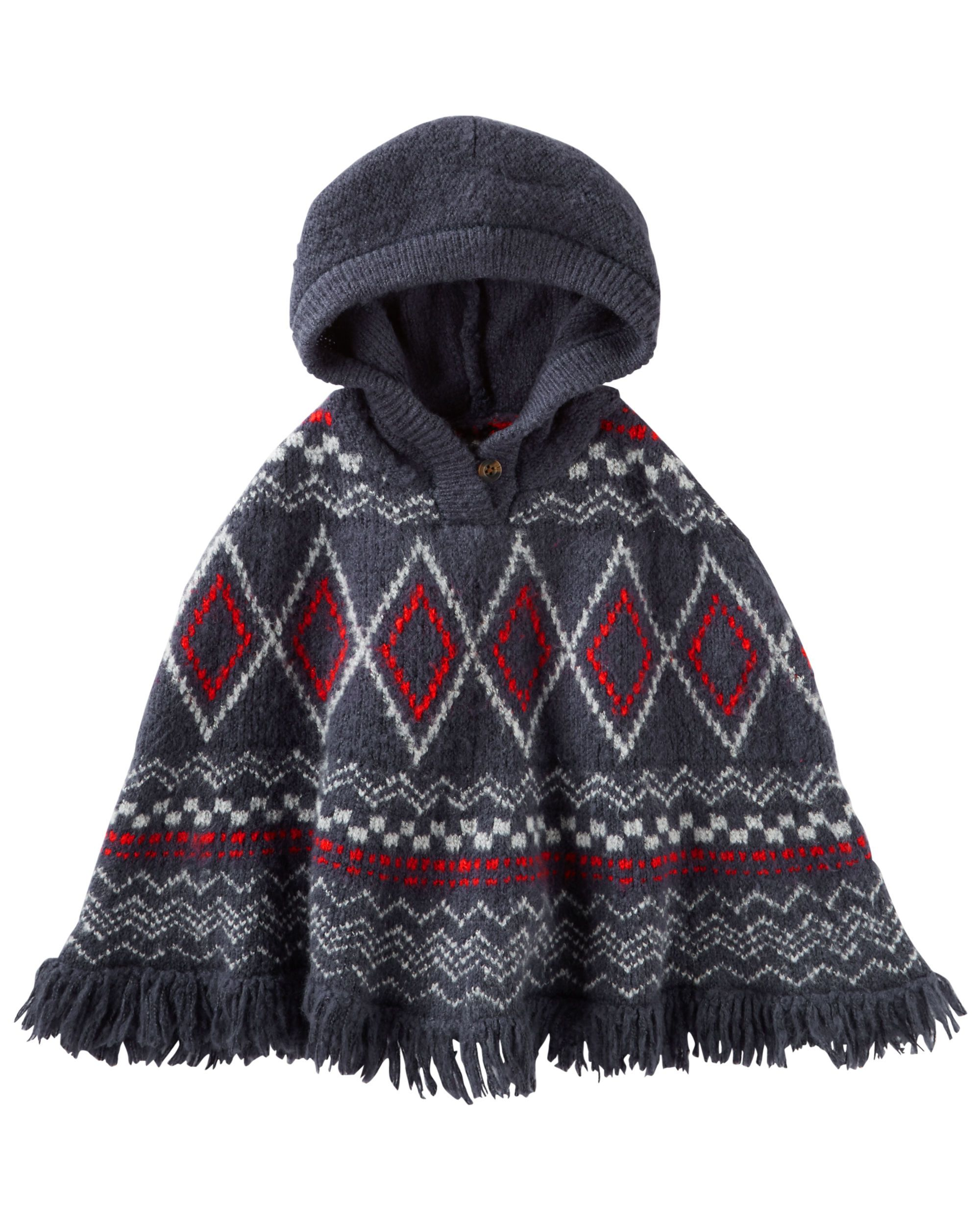 Hooded Fair Isle Poncho | Toddler girls, Kids girls and Babies