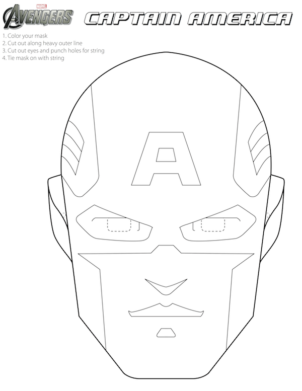free avengers printable halloween masks to color - Captain America Pictures To Color