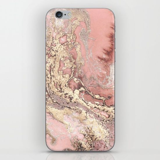 new styles e17b4 4a6b9 Rose gold marble phone skin. Gold foil effect. Society6   Things I ...