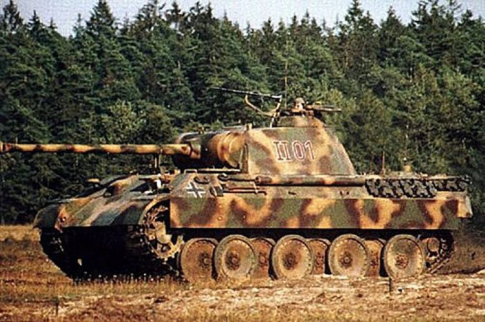 german world war 2 colour panther tank in position