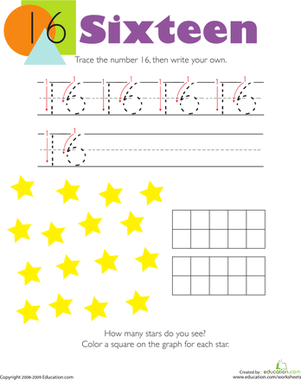 Tracing Numbers & Counting: 16 | Make a graph, For kids and Free ...
