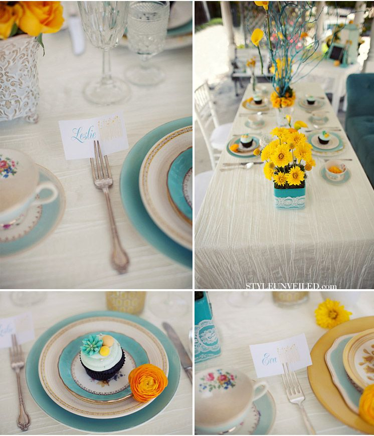 color theme looks great, but I definitely like the neutral ivory linens with the color in the plates and flowers