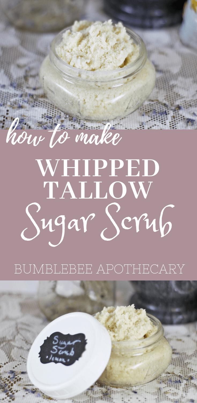 Homemade Face Exfoliator Whipped Tallow Sugar Scrub Bumblebee