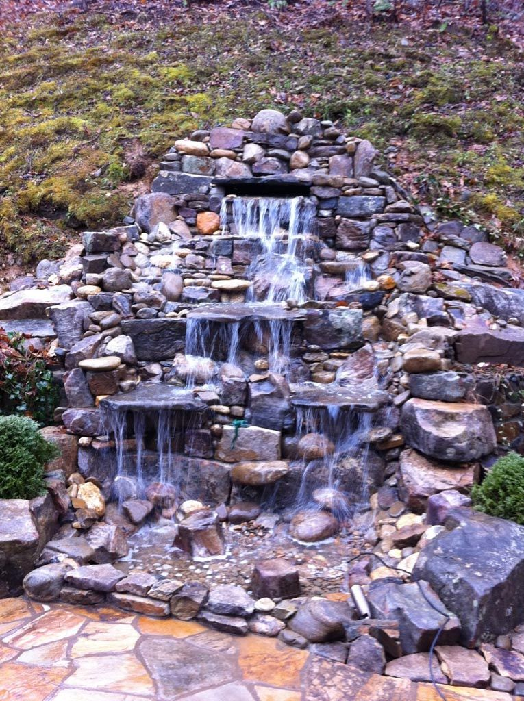 Garden pond fountain ideas landscaping pinterest for Garden pond waterfall ideas