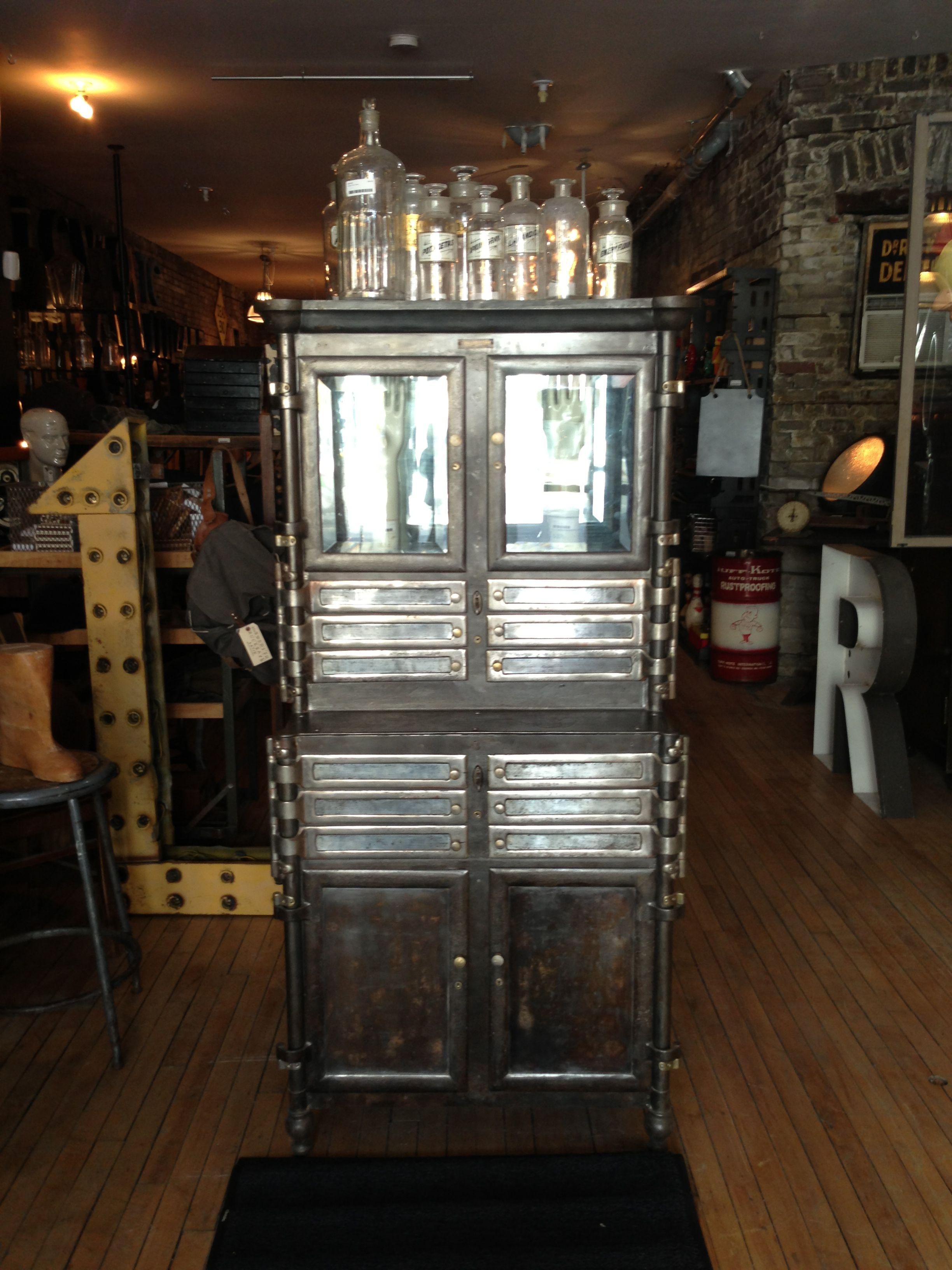 Antique Metal Dental Cabinet 1909 Antique Steel Dental Cabinet Metropolis Living Product