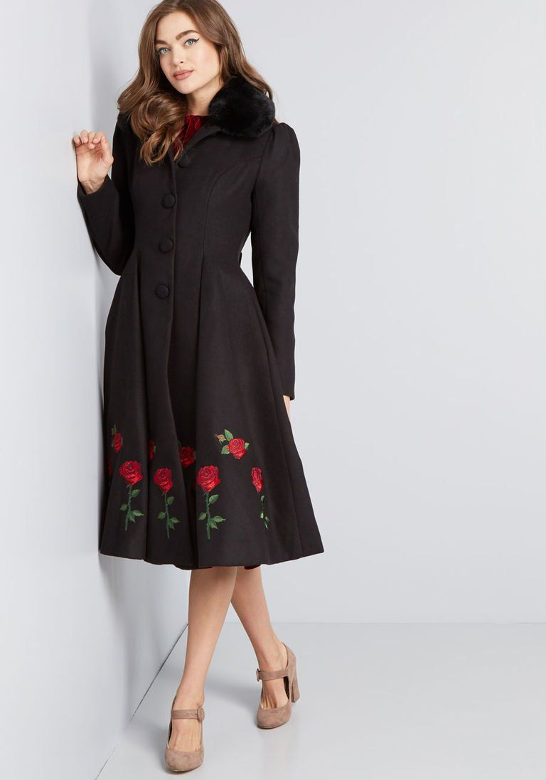 35f9a625424 Snowscape Grace Fit and Flare Coat in 12 (UK) - Long Fit   Flare Coat by Hell  Bunny from ModCloth