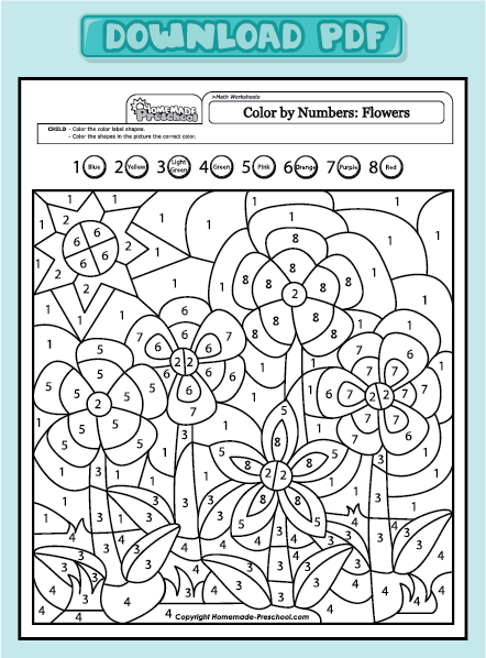 Color By Number Flowers Coloring Pages Color By Numbers