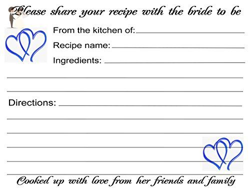 Wedding Recipe Cards Blue Hearts Design 40 Cards - Wedding favors (*Amazon Partner-Link)