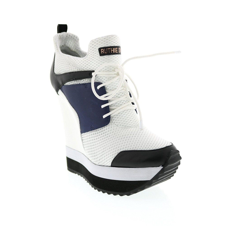 e7f588a82ca6d Amazon.com: Ruthie Davis White Mesh Lace Up Wedge Sneaker: Shoes ...