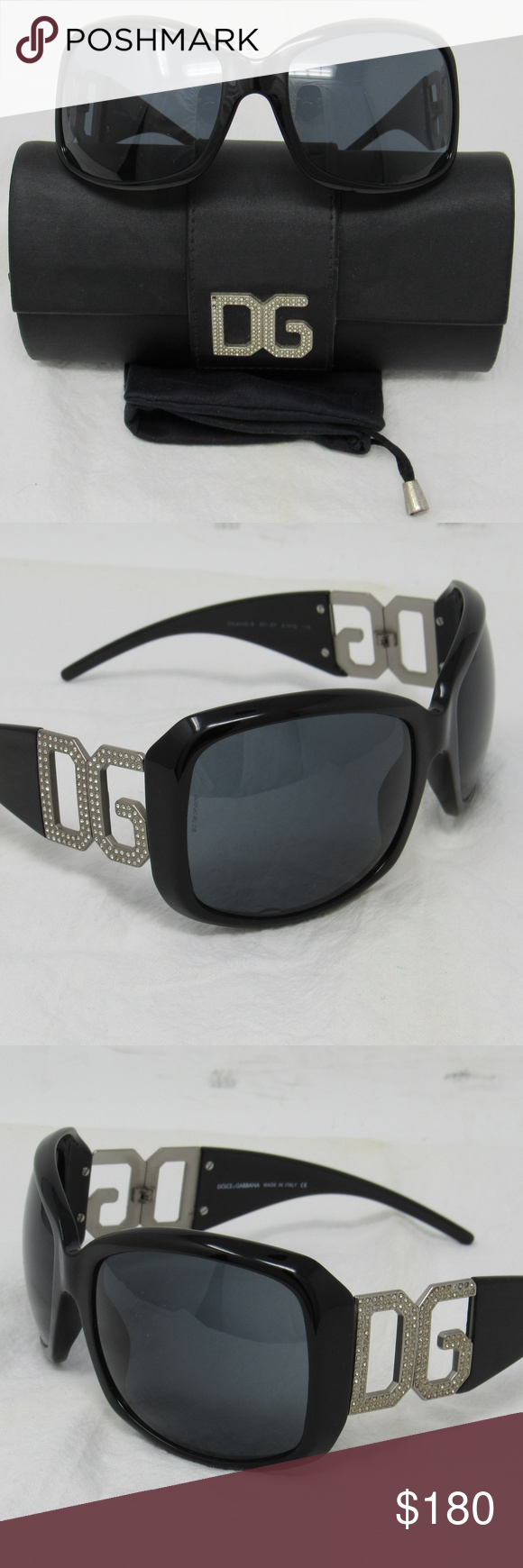 c21a4549bba0 Dolce   Gabbana sunglasses 6005-B Made in Italy Black D G sunglasses with  encrusted crystals. Stylish and pretty. The measurements in mm are 61 19  115  ...