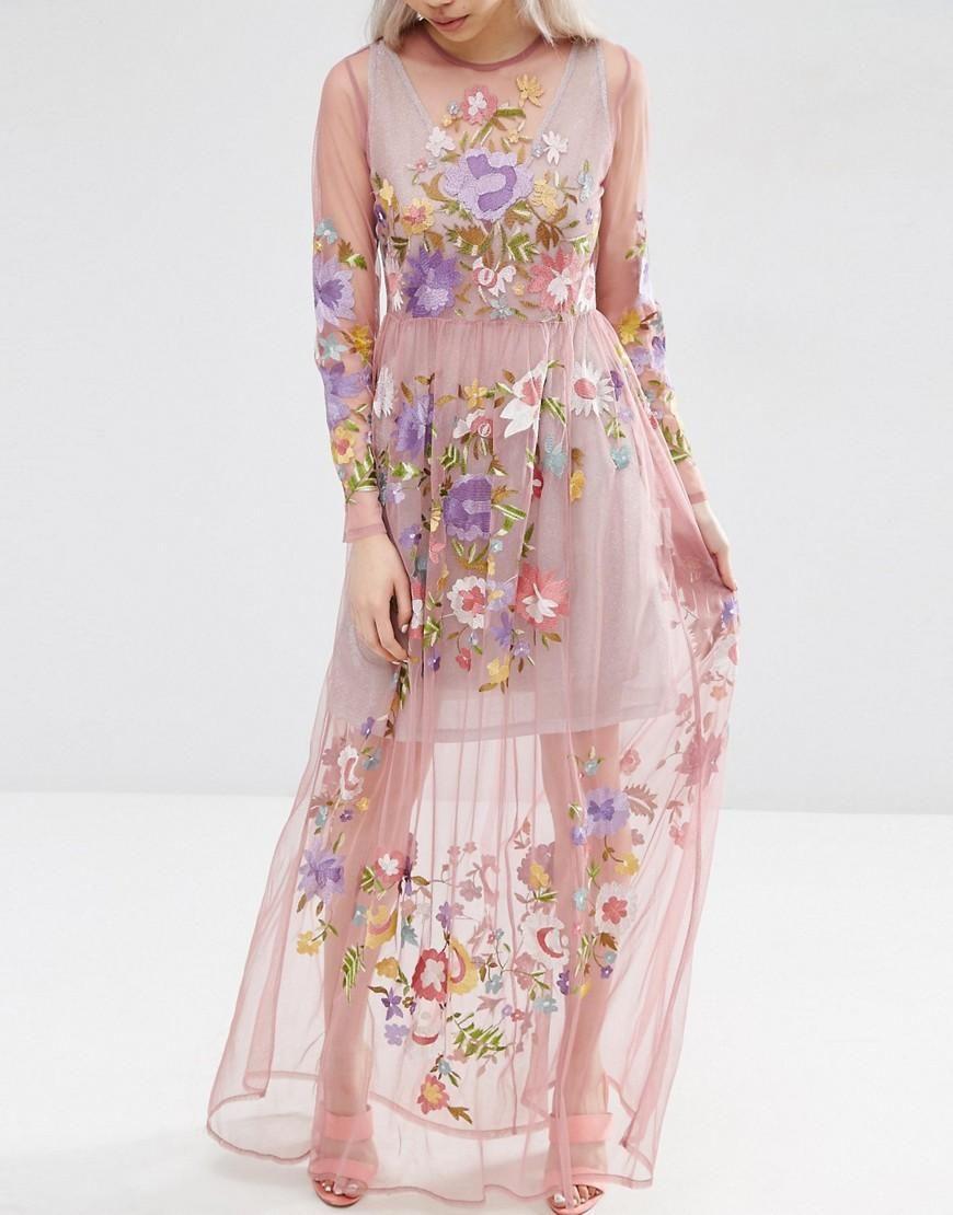 ASOS | ASOS Pretty Embroidered Mesh Maxi Dress with Metallic Cami at ...