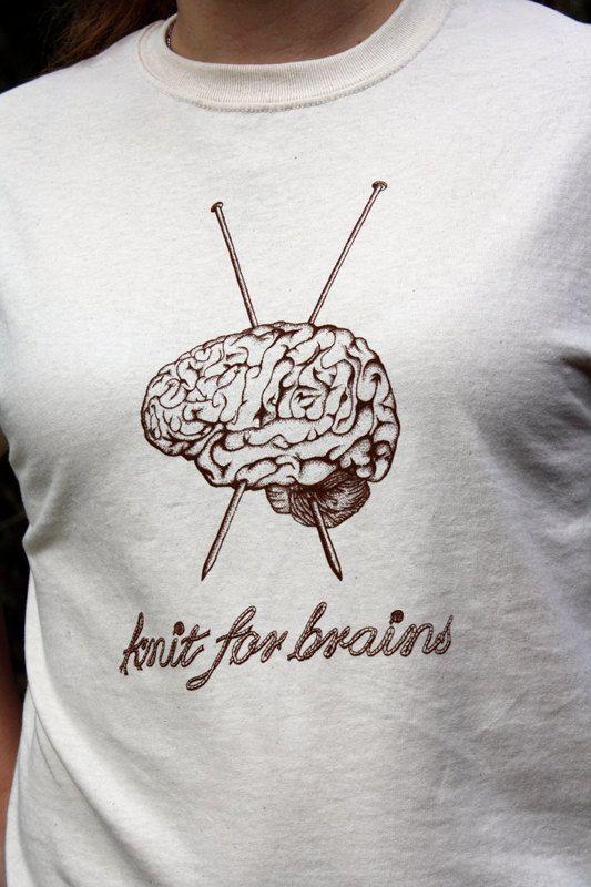 Knit for Brains SMALL Original Design Knitting Tee by DecorNoir, $15.00