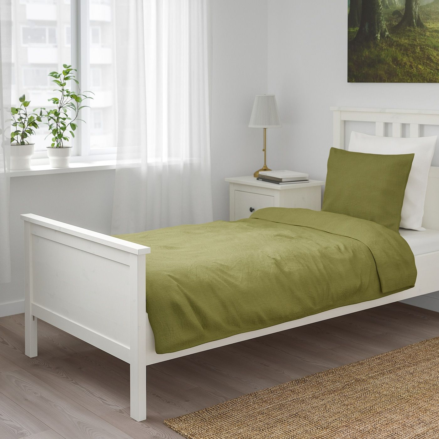 Ikea Puderviva Light Olive Green Duvet Cover And Pillowcase S In