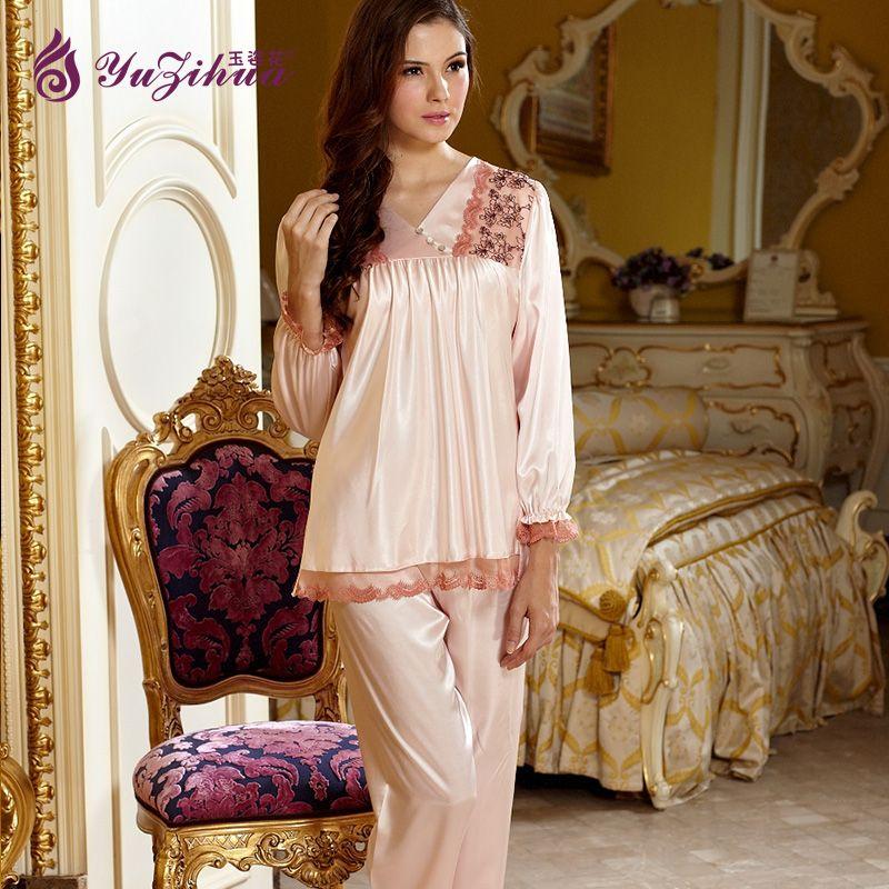 2642e08313 Yuzihua New Flower Pyjamas Women Pajama Pyjama Femme Silk Pajamas for Women  Sexy Pyjamas Set Pijamas
