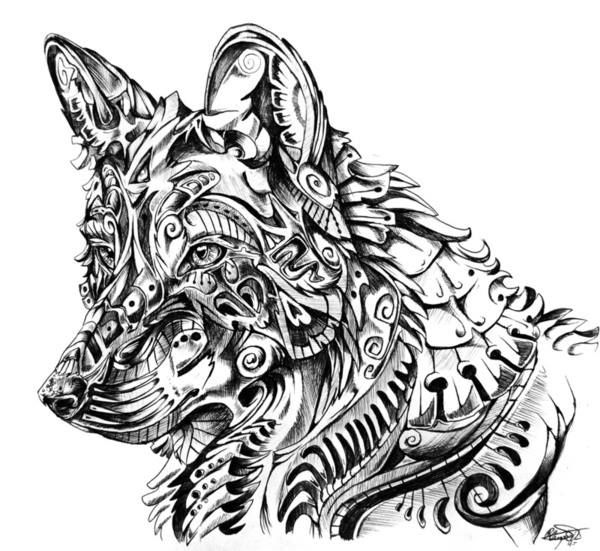 Coloring For Adults Kleuren Voor Volwassenen Abstract Wolf Wolf Art Print Zentangle
