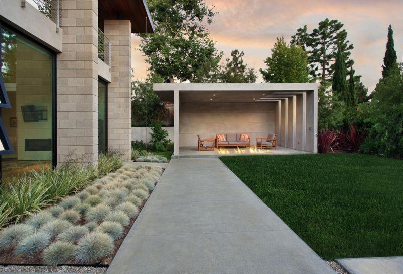 Moderne Pergola Beton Sitzplaetze Garten Sukkulente Gestalten Modern Pergola Outdoor Pergola Modern Pergola Designs