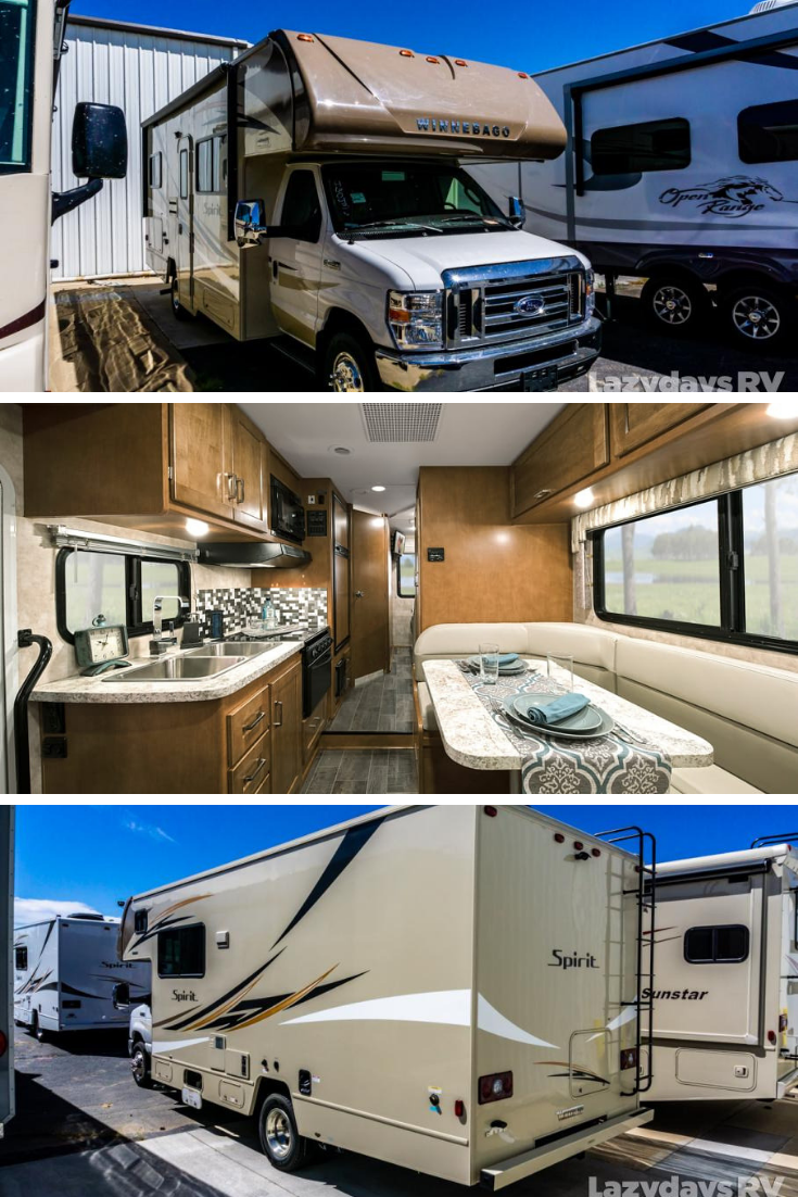 If You Ve Been Thinking About Getting A New Motorhome In Your Life Then Check Out The Winnebago Spirit At Lazyda With Images Travel Trailers For Sale Van Home Motorhome
