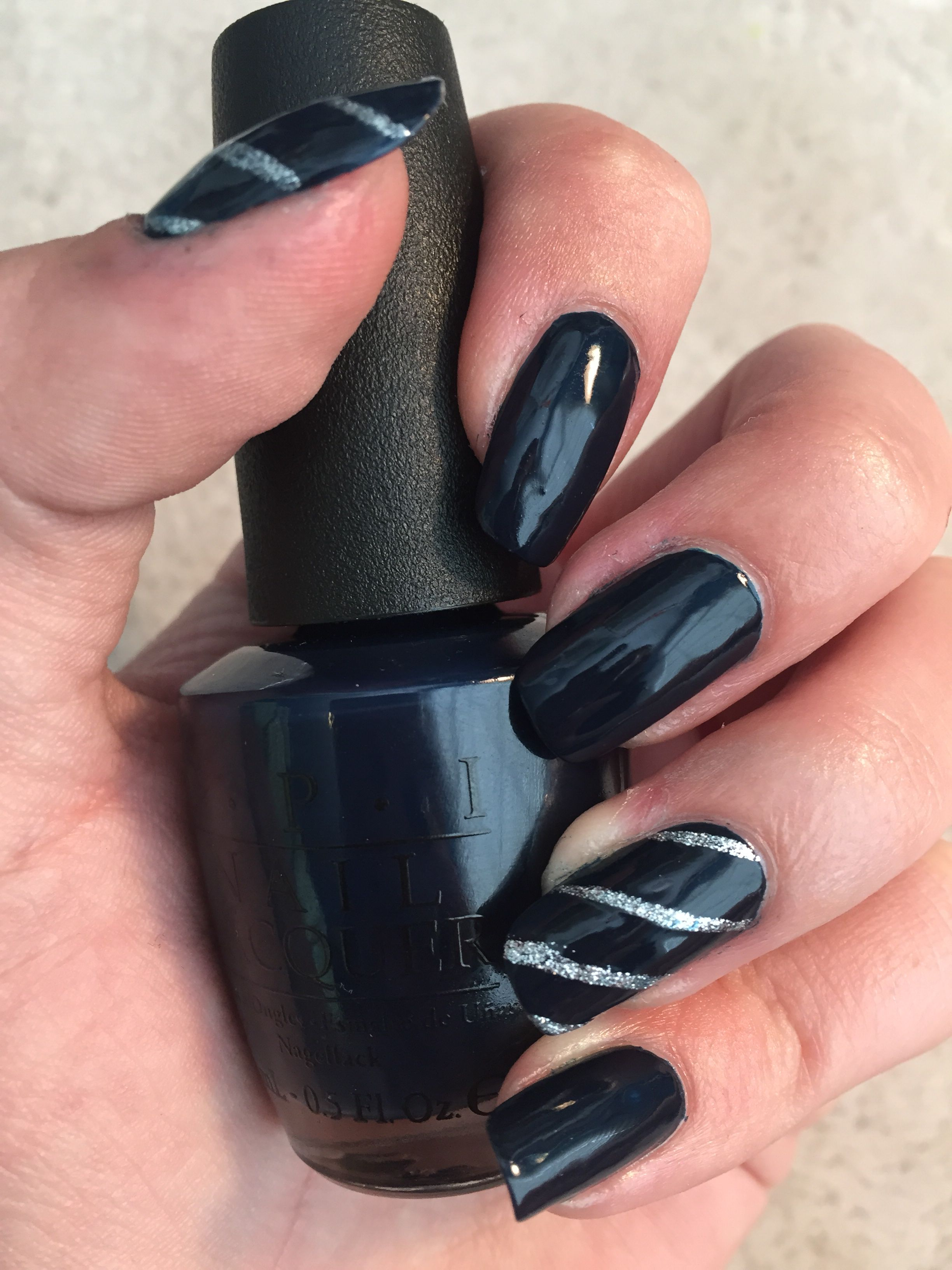 OPI incognito in Sausalito (dark blue) and Kiss Nail Art Paint in ...