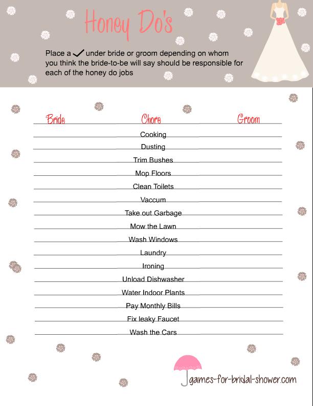 Free printable honey do 39 s game for bridal shower bridal for Non traditional bridal shower games