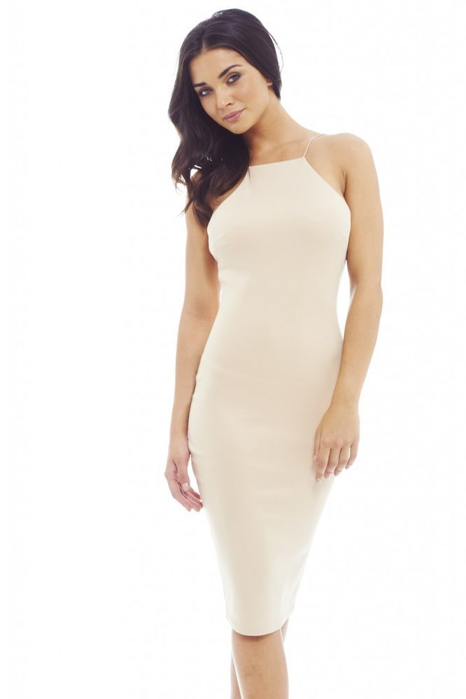 Nude Ruched Front Bodycon Dress - AX Paris