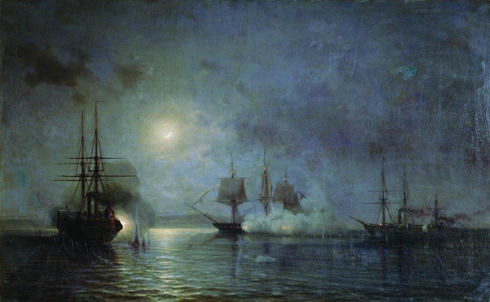 Alexei Petrovich Bogoliubov - Turkish steamships attack 44 gun fregate Flora