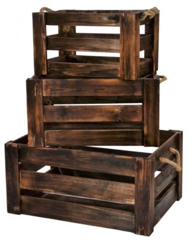 e2e Set of 3 Vintage Farm Shop Style Wooden Slatted Apple Crate Storage Box