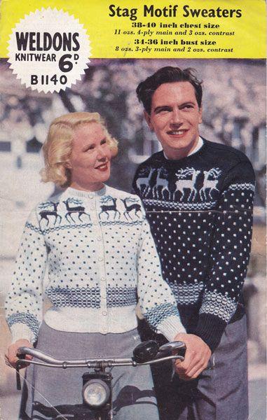 Weldons B1140stag Motif Sweaters Knitting Pattern Sewing